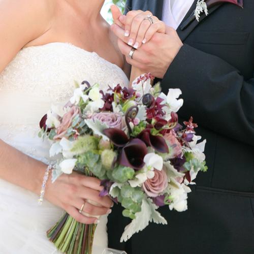 Bridal Bouquet Containing White Sweet Peas Amnesia Roses