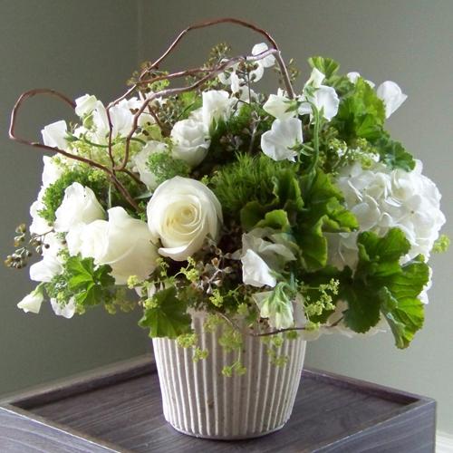 Centerpiece With White Hydrangea Polar Star Roses White Sweet Peas
