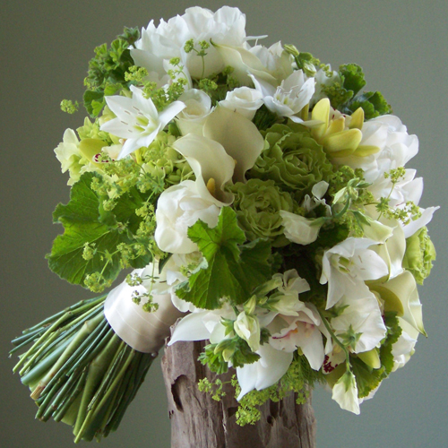 Bridal Bouquet With Eucharis Lilies Ivory Mini Callas White Peonies