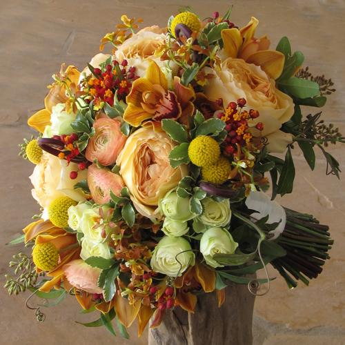 Bridal Bouquet With Uluhe Fern Curls Chocolate Mini Cymbidium Orchids
